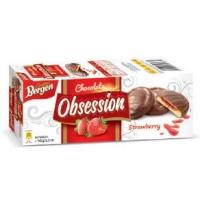"Bergen печенье ""Obsession strawberry"" с клубничным желе в молочном шоколаде"